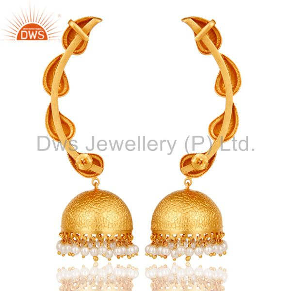 Exporter Traditional Jhumka Earrings 18k Gold Plated With Sterling Silver & Pearl
