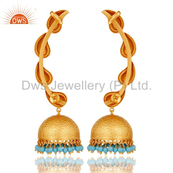 Exporter Traditional Jhumka Earrings 18k Gold Plated With Sterling Silver And Turquoise