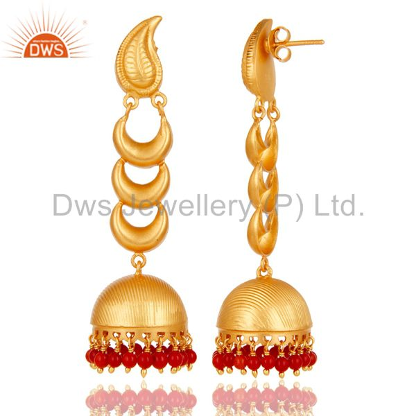 Exporter 18k Gold Plated Traditional Jhumka Earrings With Sterling Silver And Coral