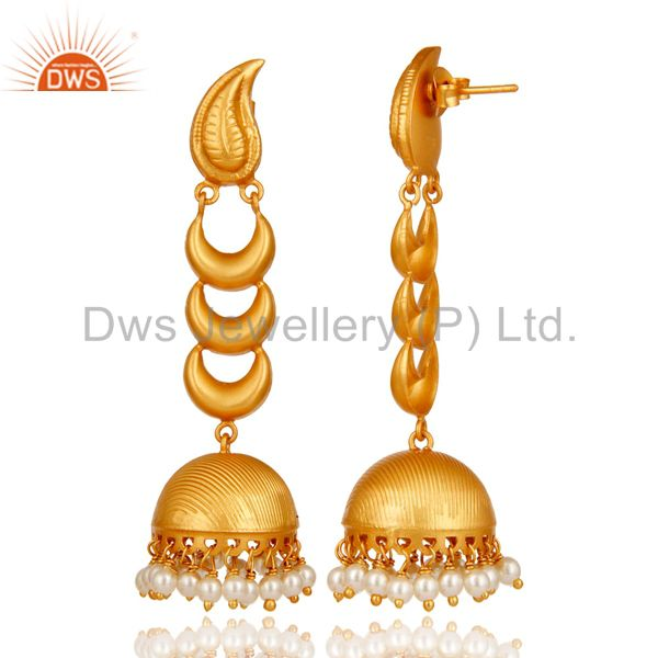 Exporter 18k Gold Plated Traditional Jhumka Earrings With Sterling Silver And Pearl