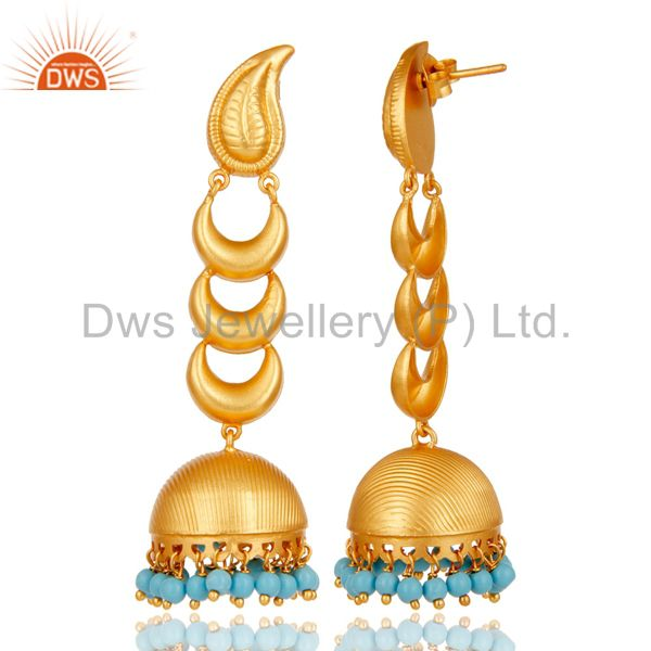 Exporter 18k Gold Plated Traditional Jhumka Earrings With Sterling Silver & Turquoise