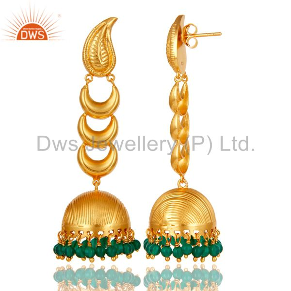 Exporter 18k Gold Plated Traditional Jhumka Earrings With Sterling Silver & Green Onyx
