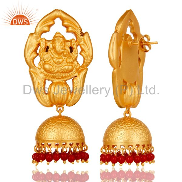Exporter Traditional Jhumka Earrings 18k Gold Plated Sterling Silver Coral Ganesha Design