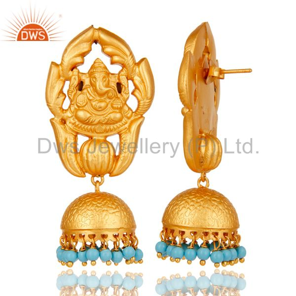 Exporter Turquoise Traditional Jhumka Earrings 18k Gold Plated Sterling Silver Ganesha