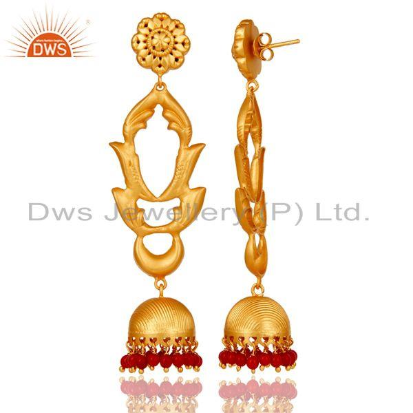 Exporter Coral Traditional Jhumka Earrings 18k Gold Plated Sterling Silver Ganesha