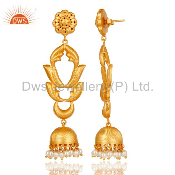 Exporter Pearl Traditional Jhumka Earrings 18k Gold Plated Sterling Silver Ganesha