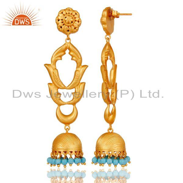 Exporter Turquoise Traditional Jhumka Earrings 18k Gold Plated With Sterling Silver