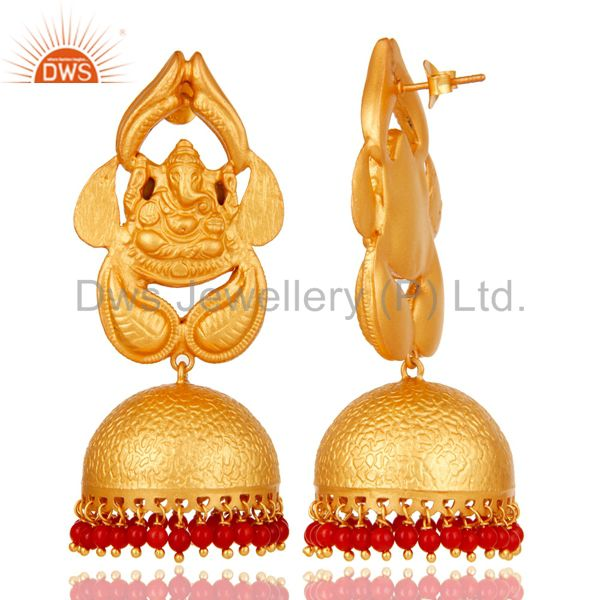 Exporter Coral Traditional Jhumka Earrings 18k Gold Plated Sterling Silver Ganesh design