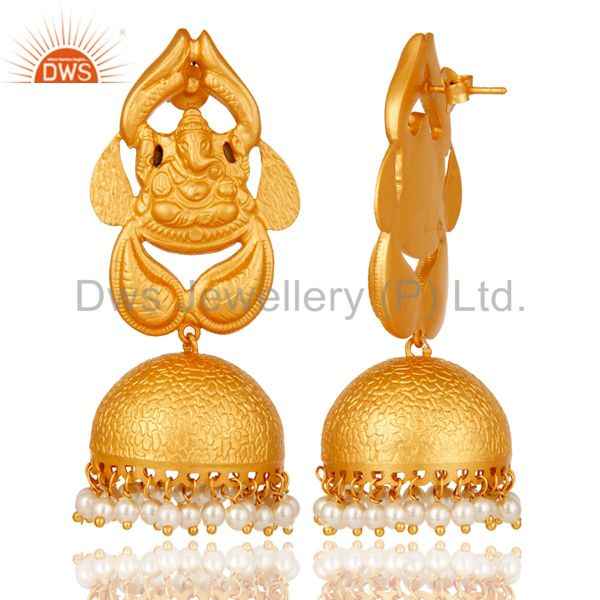 Exporter Pearl Traditional Jhumka Earrings 18k Gold Plated Sterling Silver Ganesh design