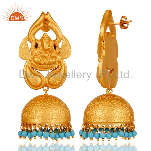 Exporter 18K Gold Plated Sterling Silver God Ganesh Design Jhumka Earrings With Turquoise