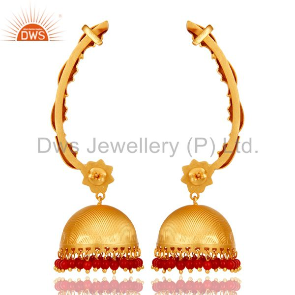 Exporter Traditional Jhumka Ear Cuff with 18K Gold Plated Sterling Silver and Coral