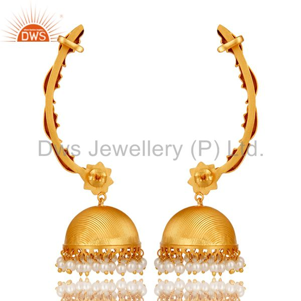 Exporter Traditional Jhumka Ear Cuff with 18K Gold Plated Sterling Silver and Pearl
