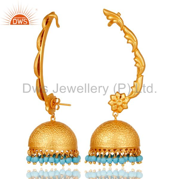 Exporter 18K Gold Plated 925 Sterling Silver Ethnic Bollywood Turquoise Jhumka Ear Cuff