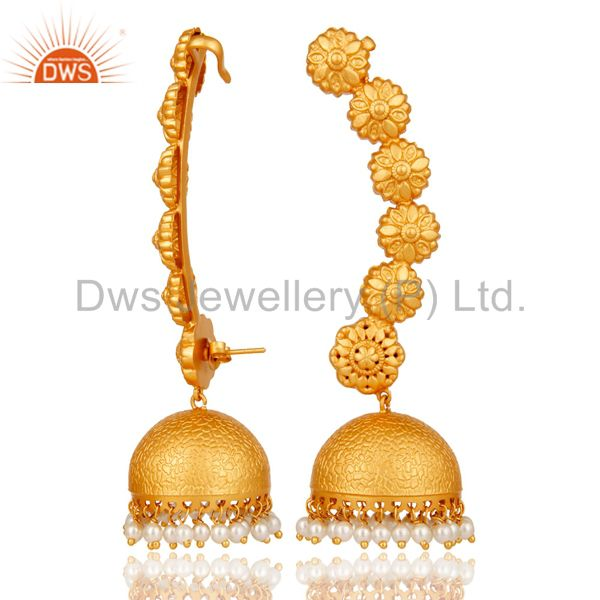 Exporter Ear Cuff Traditional Jhumka with 18K Gold Plated Sterling Silver and Pearl