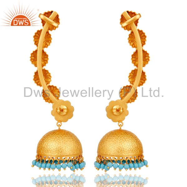 Exporter Ear Cuff Traditional Jhumka with 18K Gold Plated Sterling Silver and Turquoise