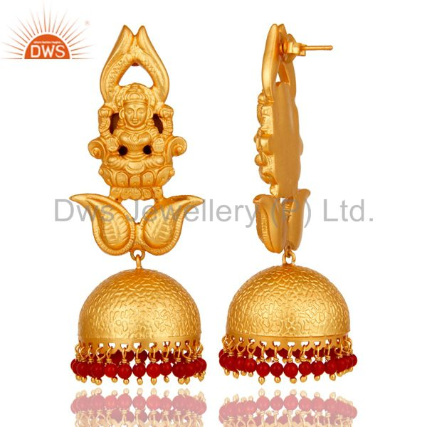 Exporter 18k Gold Plated Traditional Jhumka Earrings with 925 Sterling Silverl and Coral