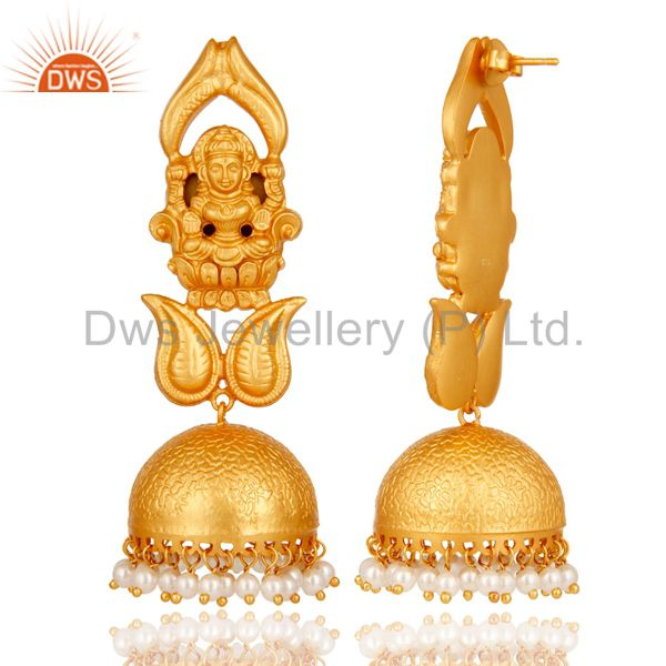 Exporter 18k Gold Plated Traditional Jhumka Earrings with 925 Sterling Silverl & Pearl