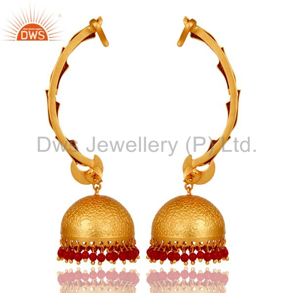 Exporter Ear Cuff Traditional Jhumka 18K Gold Plated Sterling Silver and Coral