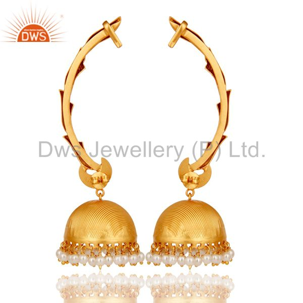 Exporter Ear Cuff Traditional Jhumka 18K Gold Plated Sterling Silver and Pearl