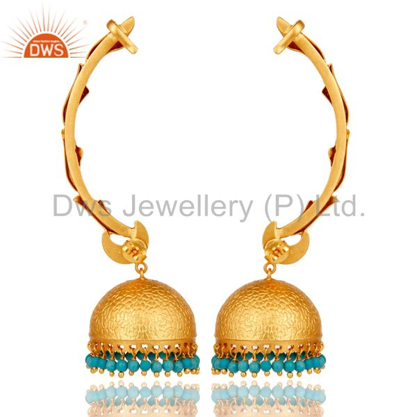 Exporter Ear Cuff Traditional Jhumka 18K Gold Plated Sterling Silver and Turquoise
