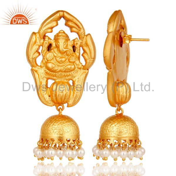 Exporter 18k Gold Plated Sterling Silver Natural Pearl Ganesh God Jhumka Earrings