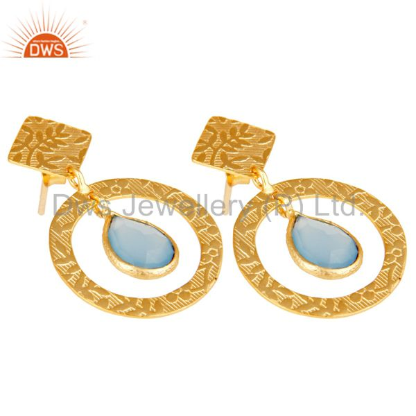 Exporter Handmade Traditional Sterling Silver Earrins with 18k Gold Plated & Chalcedony