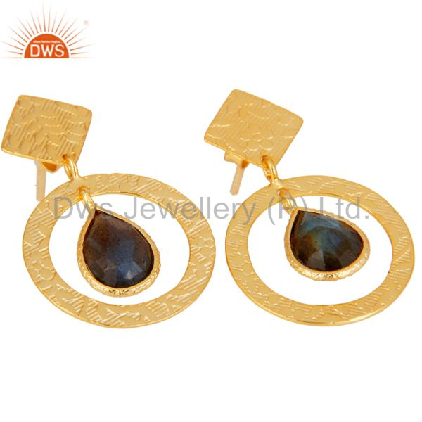 Exporter Handmade Traditional Sterling Silver Earrings with 18k Gold Plated & Labradorite