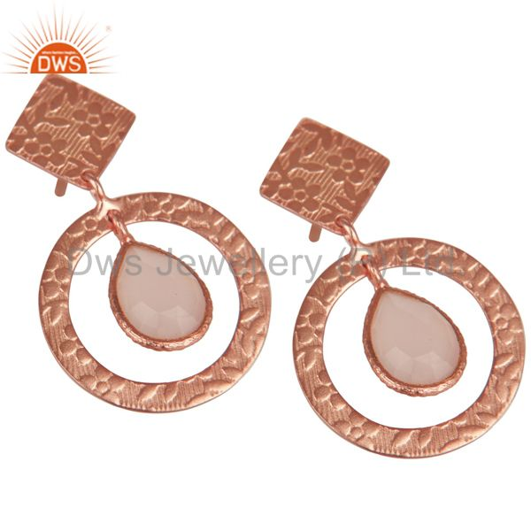 Exporter 14K Rose Plated 925 Sterling Silver Dyed Chalcedony Bezel Set Drops Earrings