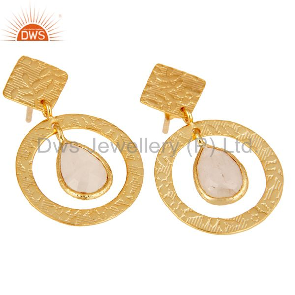 Exporter 18K Gold Plated Sterling Silver Textured Rainbow Moonstone Bezel Set Earrings