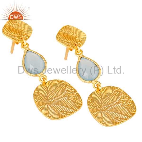 Exporter 18k Yellow Gold Plated 925 Sterling Silver Chalcedony Dangle Earrings