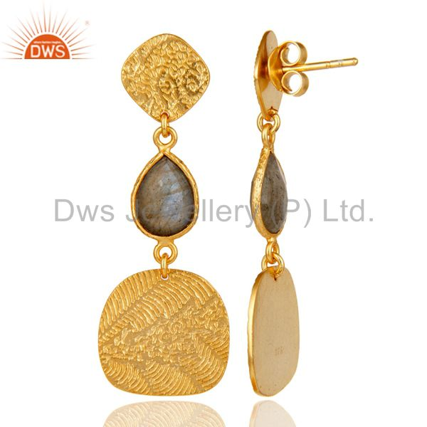 Exporter 18k Yellow Gold Plated 925 Sterling Silver Labradorite Dangle Earrings