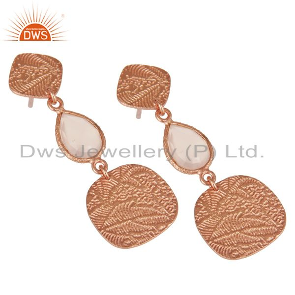 Exporter 18k Rose Gold Plated 925 Sterling Silver Textured Dyed Chalcedony Dangle Earring