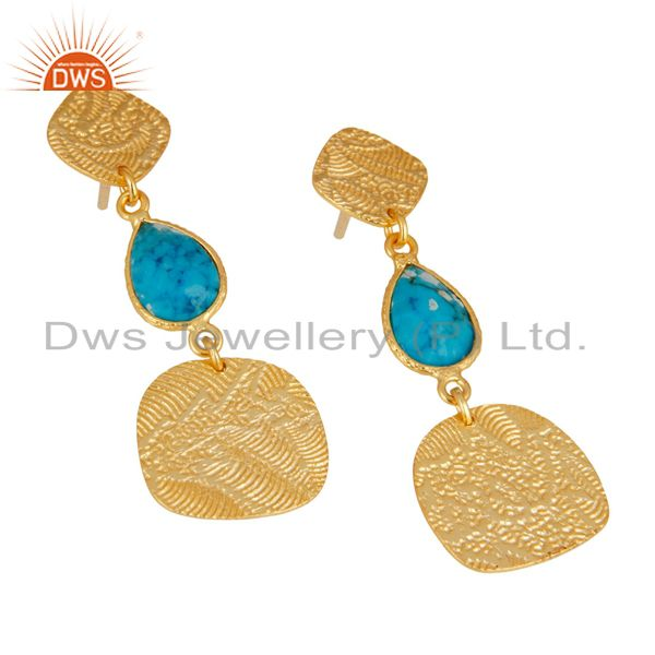 Exporter 22k Gold Plated 925 Sterling Silver Textured Design Turquoise Dangle Earrings