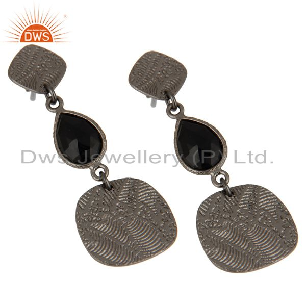 Exporter Black Oxidized 925 Sterling Silver Textured Design Black Onyx Dangle Earrings