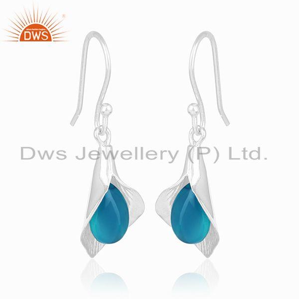Exporter Blue Chalcedony Gemstone Sterling 92.5 Silver Designer Earrings Wholesale