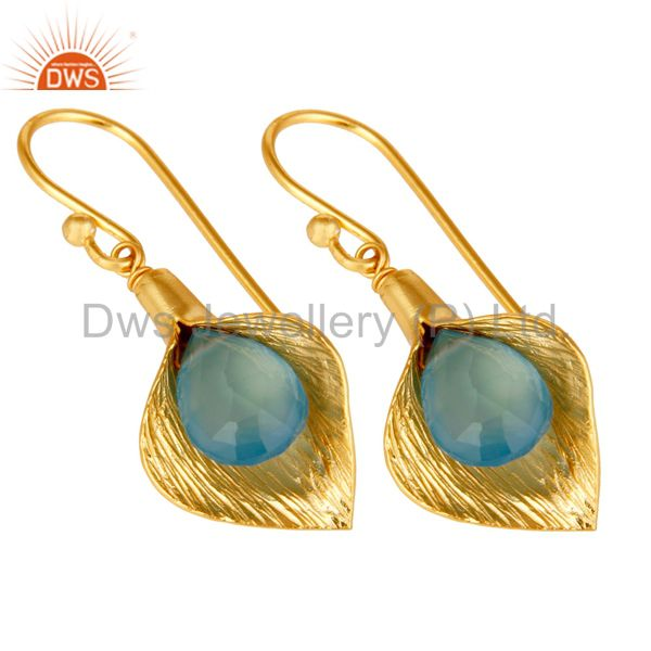 Exporter 18k Yellow Gold Plated Sterling Silver Fashion Charming Gift Chalcedony Earrings