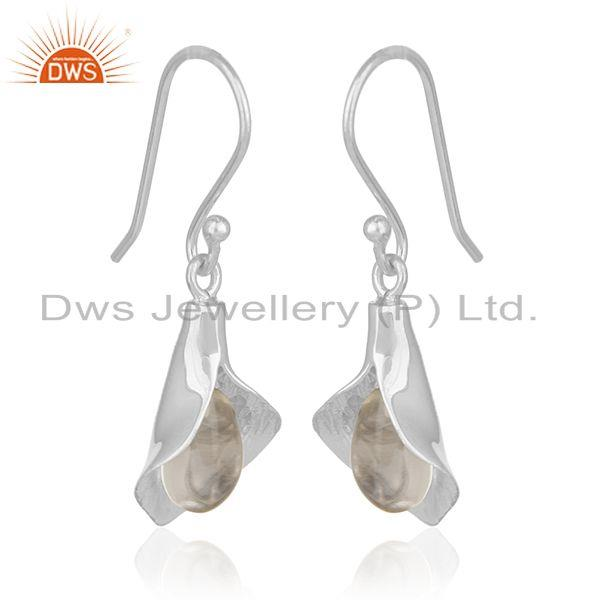 Exporter Floral Design Sterling Silver Crystal Customized Earring Manufacturer from India