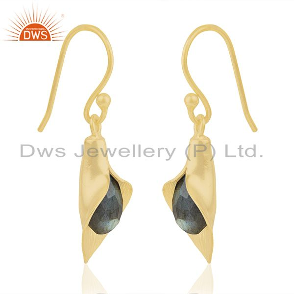 Exporter 18k Yellow Gold Plated Sterling Silver Fashion Charming Gift Labradorite Earring