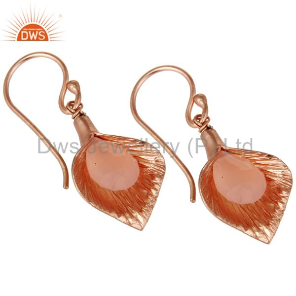 Exporter 18K Rose Gold Plated Sterling Silver Fashion Charming Dyed Chalcedony Earrings