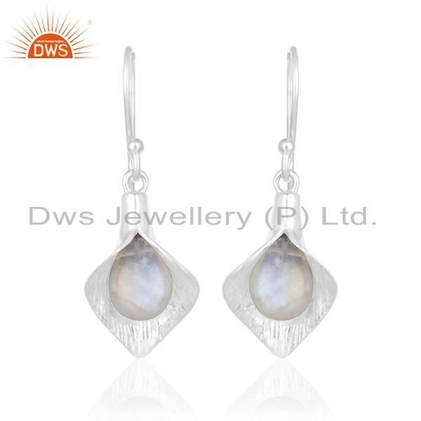 Exporter Rainbow Moonstone 925 Silver Floral Design Drop Earrings Supplier from India