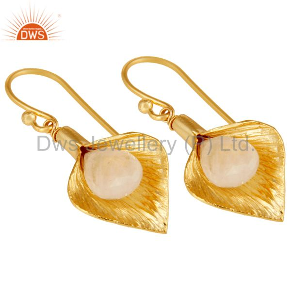 Exporter 18k Yellow Gold Plated Sterling Silver Fashion Charming Gift Moonstone Earring