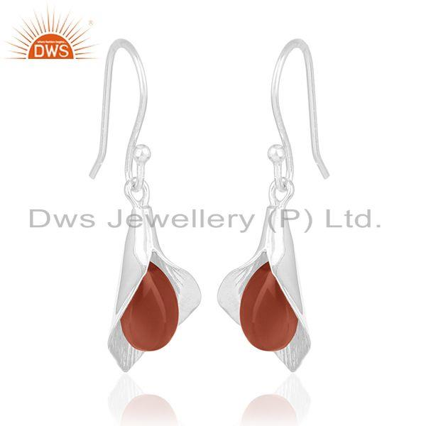 Exporter Floral Design Sterling 92.5 Silver Carnlian Gemstone Earring Wholesale Suppliers