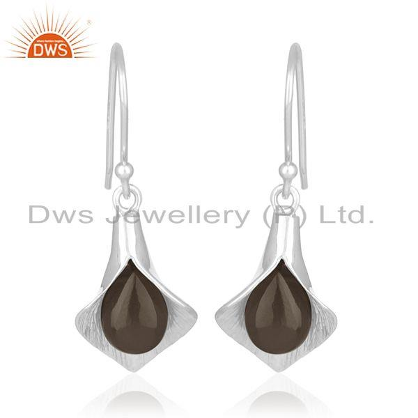 Exporter Handcrafted Sterling Silver Floral Design Smoky Gemstone Girls Earring Wholesale