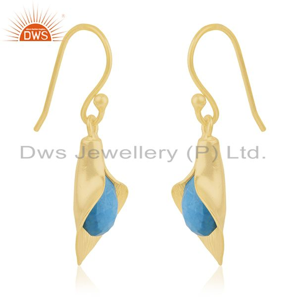 Exporter 18k Yellow Gold Plated Sterling Silver Fashion Charming Gift Turquoise Earrings