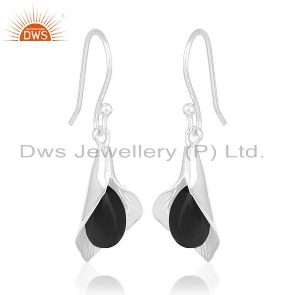 Exporter White Rhodium Plated 925 Silver Black Onyx Gemstone Floral Earrings Wholesale