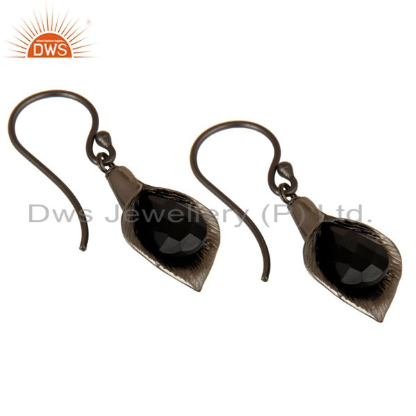 Exporter 18k Yellow Gold Plated Sterling Silver Fashion Charming Gift Black Onyx Earrings