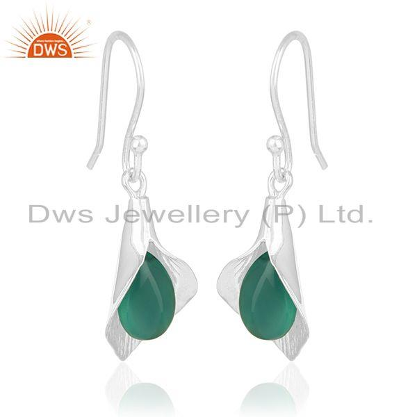 Exporter Floral Design Silver Onyx Gemstone Custom Design Earring Jewelry Manufacturers