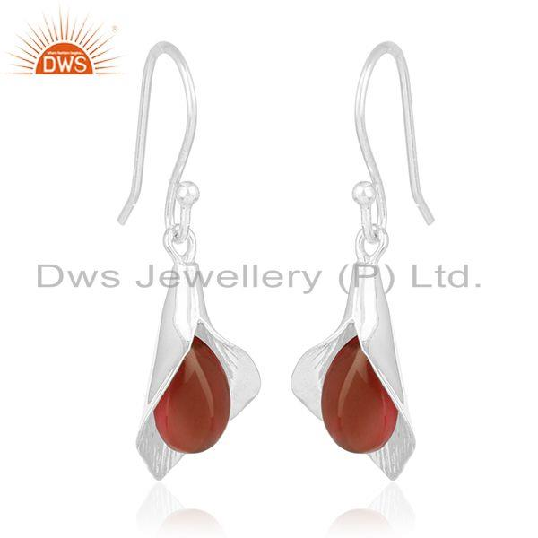 Exporter Onyx Gemstone Floral Design Silver Private Label Earring Jewelry Manufacturer