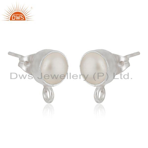 Exporter Handmade Fine Silver Plated White Pearl Stud Earrings Jewelry Findings Supplier
