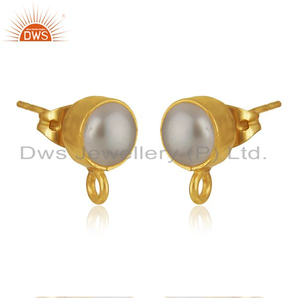Exporter 18K Yellow Gold Plated Traditional Handmade Pearl Studs Brass Earrings Jewelry